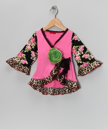 Pink & Black Floral Wrap Top - Toddler & Girls