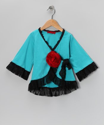 Aqua & Black Lace Wrap Top - Toddler & Girls