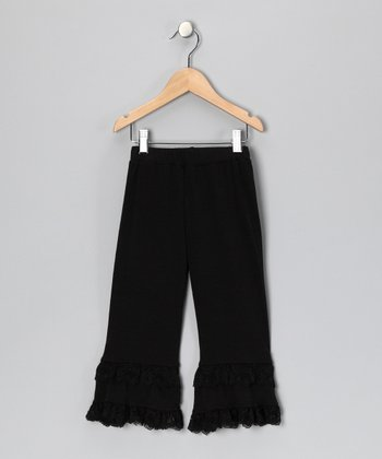 Black Lace Ruffle Pants - Toddler & Girls