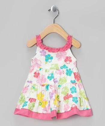 White & Pink Floral A-Line Dress - Infant & Toddler