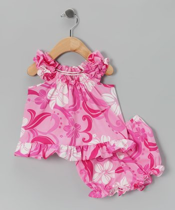 Hot Pink Hibiscus Ruffle Dress & Bloomers - Infant & Toddler