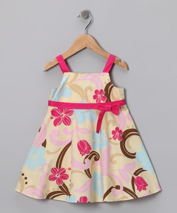 Pink & Yellow Floral Swing Dress - Toddler & Girls