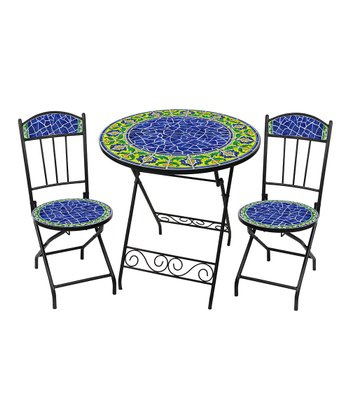 Blue Moorish Three-Piece Bistro Set
