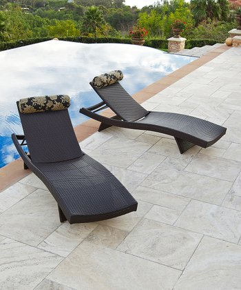 Espresso Delano Wave Chaise Lounger - Set of Two