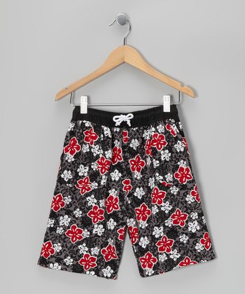 Gray & Red Floral Boardshorts - Boys