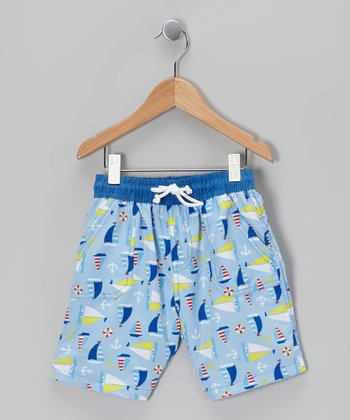 Blue Sailboat Boardshorts - Toddler