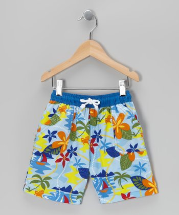 Soft Blue Island Boardshorts - Toddler