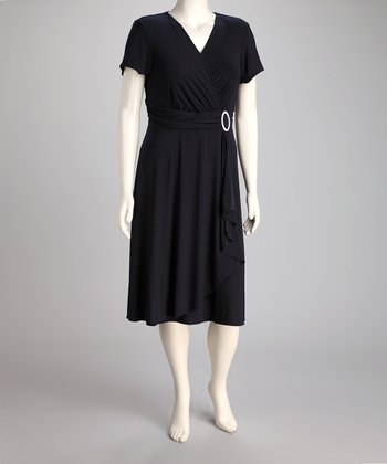 Navy Surplice Dress - Plus