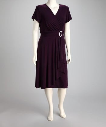 Plum Surplice Dress - Plus