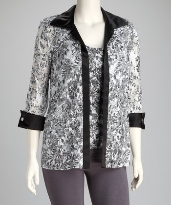 White & Black Lace Plus-Size Jacket & Tank