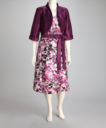 Plum Floral Dress & Bolero - Plus