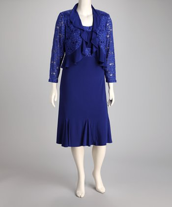 Royal Blue Ruffle Plus-Size Dress & Bolero