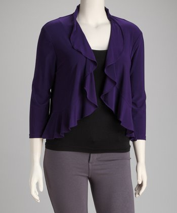 Grape Ruffle Plus-Size Bolero