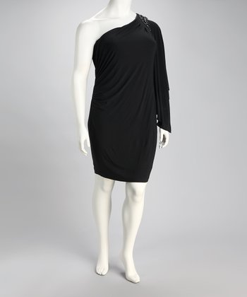 Black Asymmetrical Embellished Drape Dress - Plus