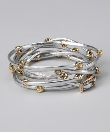 Silver & Gold Leather Wrap Bracelet
