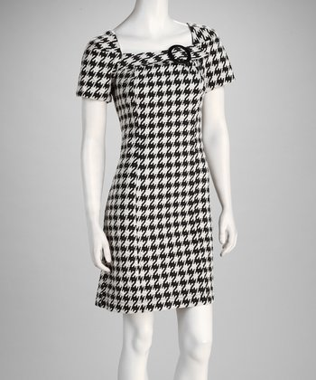 Black & Ivory Houndstooth Dress