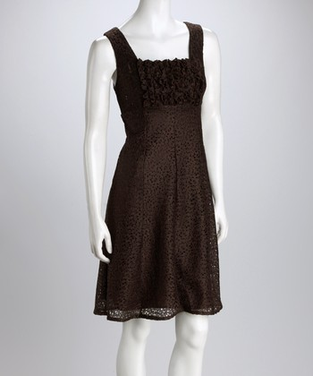 Brown Ruffles & Lace Shift Dress