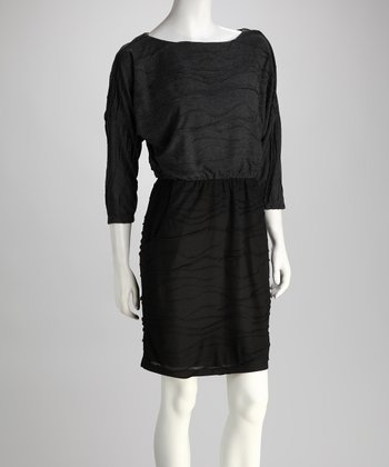 Black & Gray Crinkle Dress