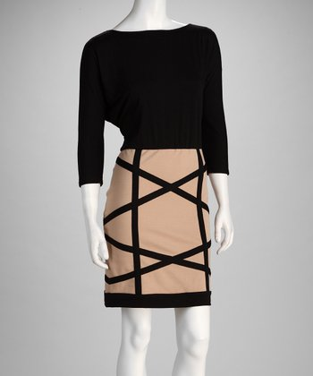 Black & Taupe Crisscross Dress