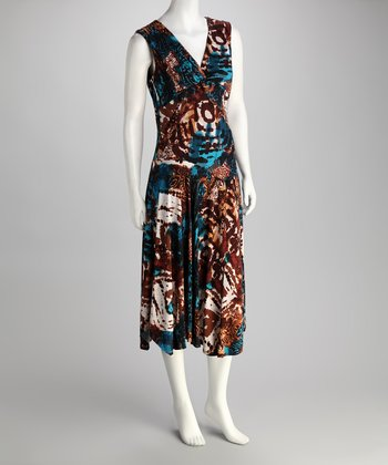 Blue & Brown Flower Surplice Dress