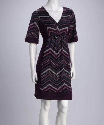 Plum Zigzag V-Neck Dress