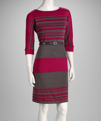 Berry & Gray Stripe Belted Dress