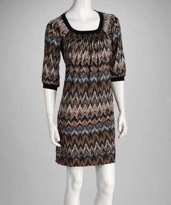 Black & Taupe Zigzag Dress