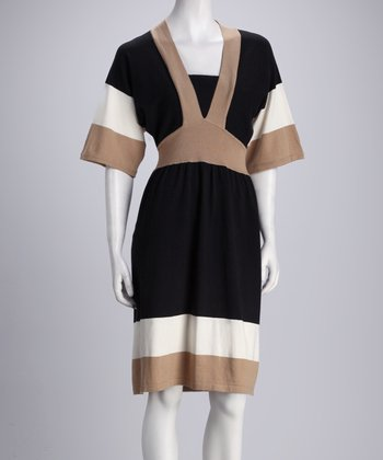 Black & Taupe Color Block Dress
