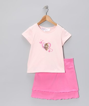 Pink Heart & Kitty Tee & Skirt - Toddler & Girls