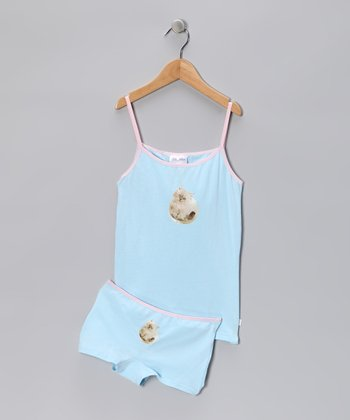 Blue Kitty Love Underwear Set - Girls