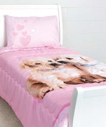 Pink Puppy Love Twin Comforter Set