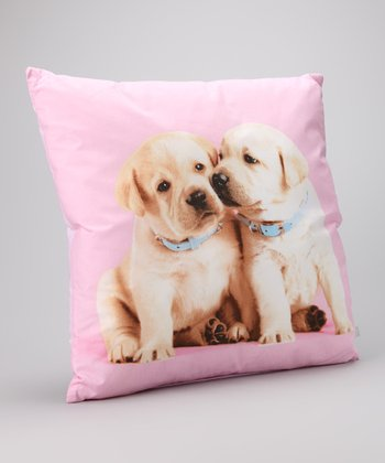 Pink Puppy Love Heart Pillow