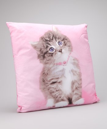 Pink So Sweet Kitten Flower Pillow