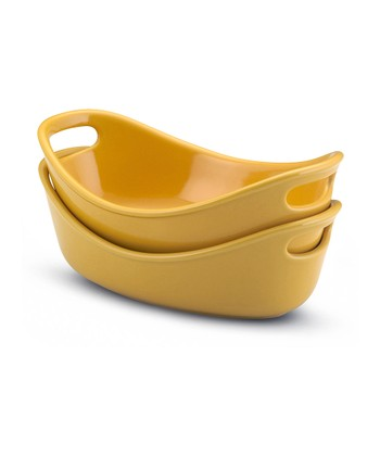 Yellow Bubble & Brown Gratin Dish - Set of Two