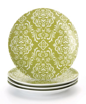 Green Curly-Q Salad Plate - Set of Four