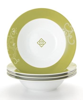 Green Curly-Q Pasta Bowl - Set of Four