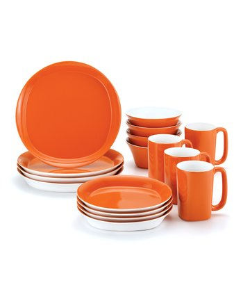 Orange Round & Square 16-Piece Dinnerware Set