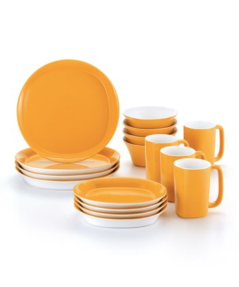Yellow Round & Square 16-Piece Dinnerware Set