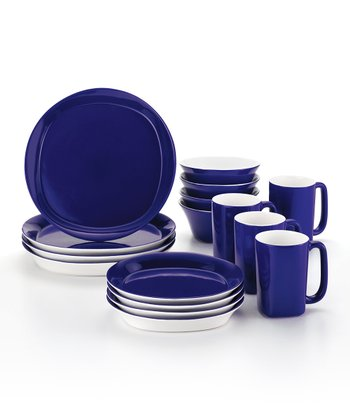 Blue Round & Square 16-Piece Dinnerware Set