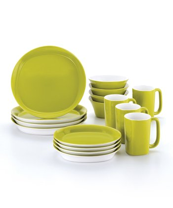 Green Round & Square 16-Piece Dinnerware Set