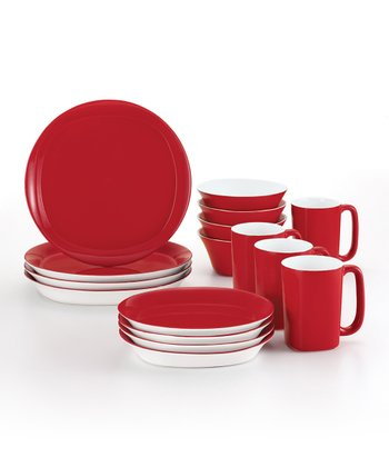 Red Round & Square 16-Piece Dinnerware Set