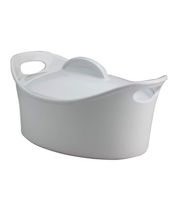 White 4.25-Qt. Casseroval Covered Dish