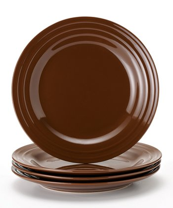 Brown Double Ridge Plate - Set of Four