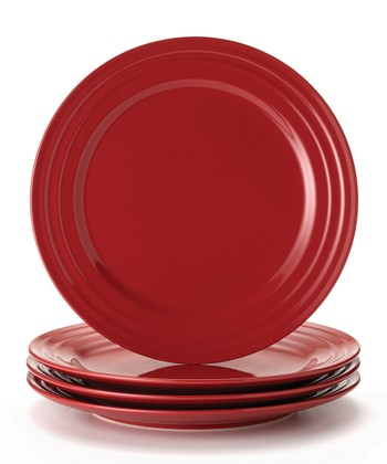 Red Double Ridge Plate - Set of Four