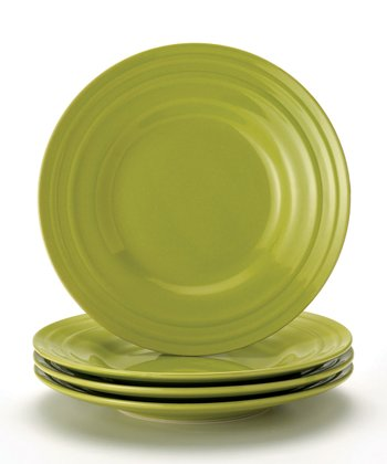 Green Double Ridge Salad Plate - Set of Four