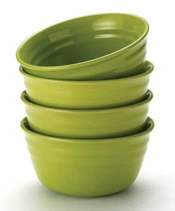 Green Double Ridge Cereal Bowl - Set of Four