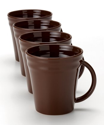 Brown Double Ridge Mug - Set of Four