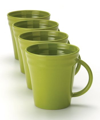 Green Double Ridge Mug - Set of Four