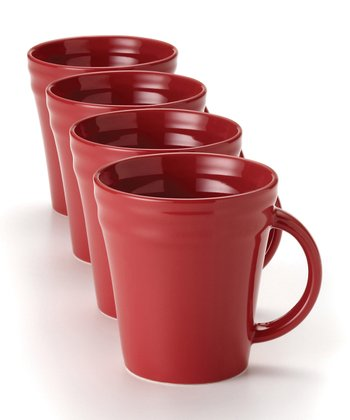 Red Double Ridge Mug - Set of Four