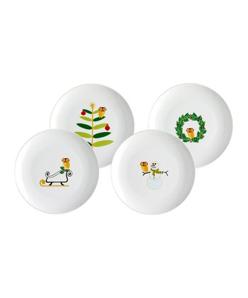 Winter Owl Salad Plate - Set of Four